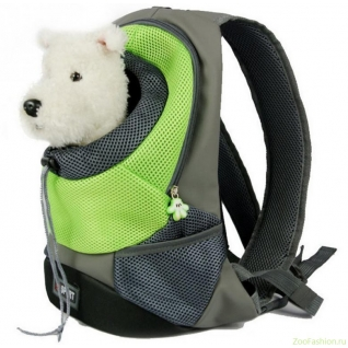 """Рюкзак переноска для собак """"Спорт"""" зеленый (35см)"""