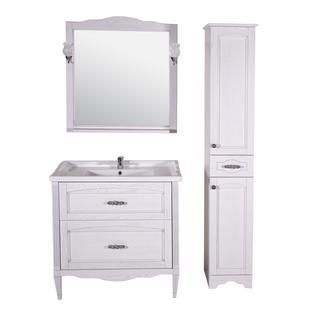 Зеркало Римини Nuovo 80 (Белый/Патина серебро) ASB-Woodline