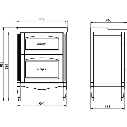Подстолье Римини Nuovo 60 (Антикварный орех) ASB-Woodline 38117099 3