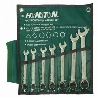 Honiton набор ключей комбинированных трещоточных, CR-V, 10-19мм 7пр (0007HGCWP)