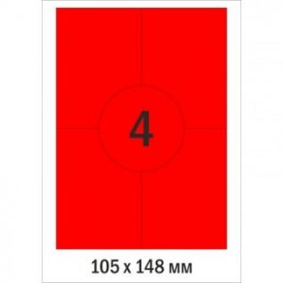 Этикетки самоклеящиеся Promega label 105х148мм крас/4шт.на лис.А4(100л/уп.)