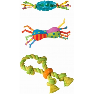 """Petstages Petstages набор из трех игрушек для собак мелких пород Mini """"Канат+ОРКА-шишка+игрушка для нежных десен"""
