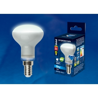 Uniel LED-R50-6W/NW/E14/FR PLS02WH картон