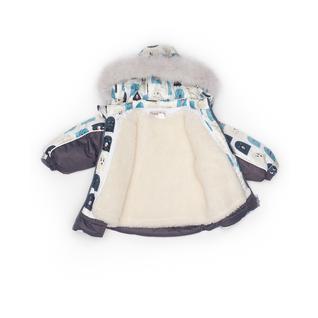 Комплект MalekBaby (Куртка + Полукомбинезон), С опушкой, №253/1 (Привидения на белом+серый) арт.409ШМ/2