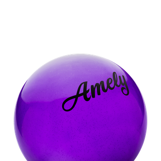 Мяч для художественной гимнастики Amely Agb-101, 15 см, фиолетовый, с блестками