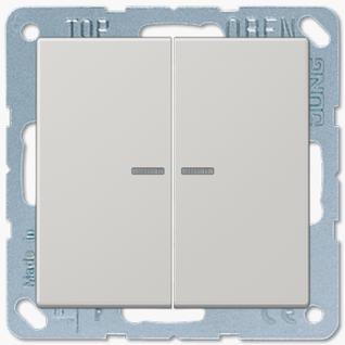 Выключатель Jung LS серия (505U5-LS995KO5LG) двухклавишный с подсветкой 10А светло-серый пластик