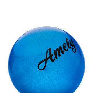 Мяч для художественной гимнастики Amely Agb-101, 15 см, синий, с блестками