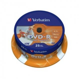 Носители информации Verbatim DVD-R 4,7Gb 16х Cake/25 43538 Print