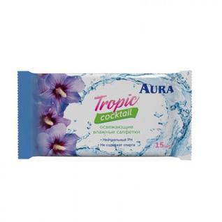 Салфетки влажные AURA освежающие TROPIC COCKTAIL 15шт.