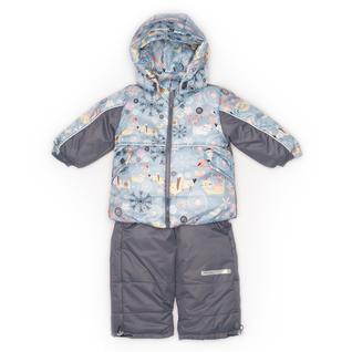 Комплект MalekBaby (Куртка + Полукомбинезон), Без опушки, №155/1 (Собаки+серый) арт.409ШМ
