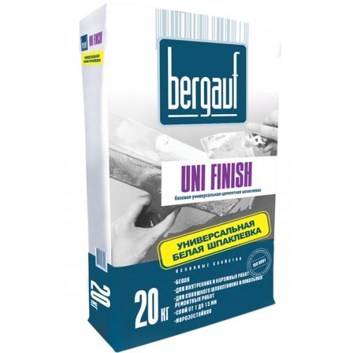 БЕРГАУФ Уни Финиш базовая цементная шпаклевка (20кг) белая / BERGAUF Uni Finish базовая универсальная цементная шпатлевка (20кг) белая Бергауф 36984044