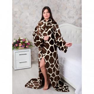 Плед-халат велсофт 150х200 Леопард 1, коричневый