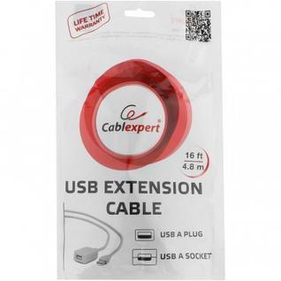 Кабель USB 2.0 AM/AF, 4.8 м, Cablexpert, активный, белый, UAE016
