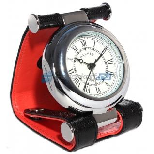 """Часы путешественника в кожаном чехле, черный/красный, фактура """"caviar"""""""