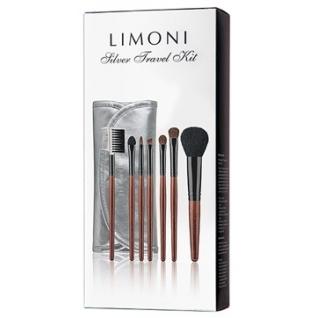 LIMONI Дорожный набор кистей для макияжа SILVER TRAVEL KIT - 7 кистей + чехол серебряный