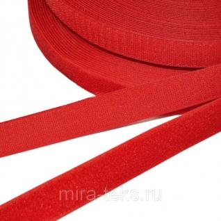 Липучка 25 мм ( лента контакт, велькро ) для одежды, цвет: красный Miratex