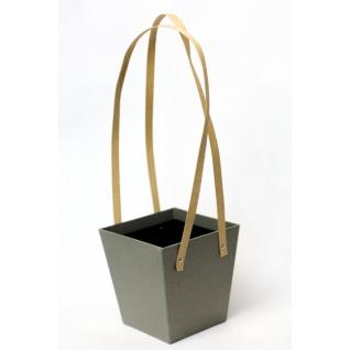 Коробка-кашпо подвесная серая