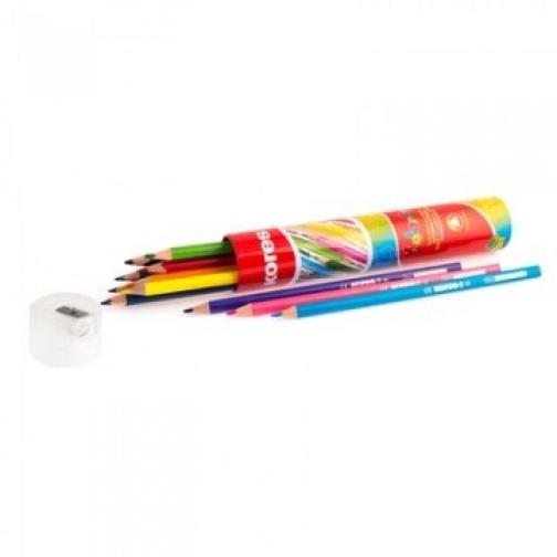 Карандаши цветные 12цв 3-гран,точилка,тубус Kores 93313 37856027 1