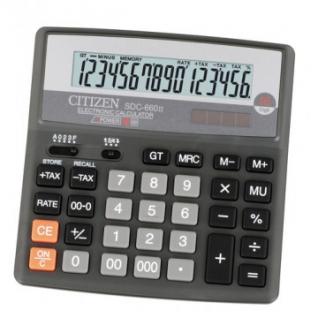 Калькулятор настольный ПОЛНОРАЗМЕРНЫЙ CITIZEN бухг.SDC-660 II 16 разряд.DP