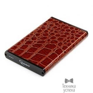 """Gembird Gembird EE2-U2S-70L-BR Внешний корпус 2.5"""" , коричневый, USB 2.0, SATA, металл+кожзам, блистер"""