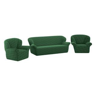 Комплект чехлов ПМ: Ми Текстиль Чехол на трехместный диван и два кресла жаккард без юбки