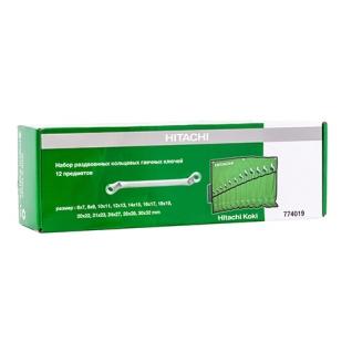 Набор раздвоенных кольцевых гаечных ключей Hitachi 12 пред 774019