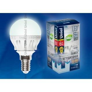Uniel LED-G45-6W/NW/E14/FR ALM01WH пластик