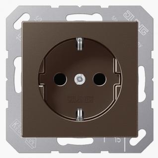 Розетка электрическая Jung A1520MO SCHUKO 16A 250V~ с заземлением мокко пластик