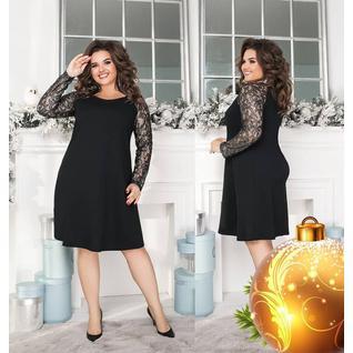 Платье лайт большого размера гипюровый рукав