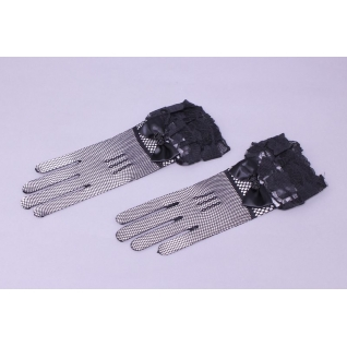 Перчатки свадебные №513, черный (сетка, закрытые)