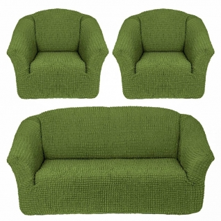 Чехлы Комфорт без оборки на Диван+2 Кресла, зелёный