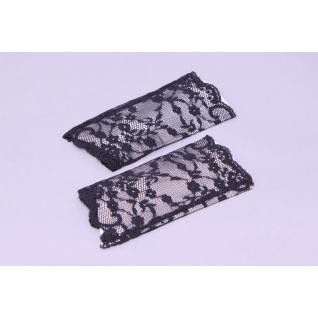 Перчатки свадебные №139, черный (кружево, короткие)