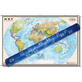 Настенная карта Мир политическая 1:15млн.,1,97x1,27м.на рейках,ОСН1224077