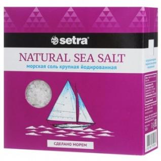 Соль Setra морская натуральная крупная йодированная 500гр