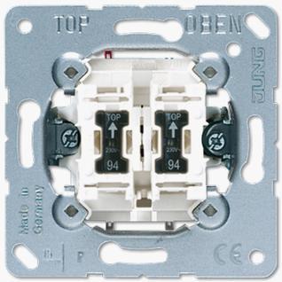 Механизм выключателя Jung 505KOU5 двухклавишный 10А балансирный контрольный возм. подсветки