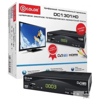 D-Color Ресивер DVB-T2 D-Color DC1301HD черный MStar 7T01, maxliner 608, HDMI, RCA, RF,USB2.0