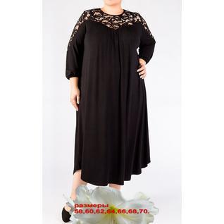 Свободное платье очень большого размера с гипюровой вставкой р.58-70