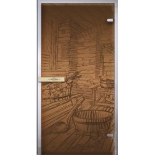 Дверь для бани РУССКАЯ БАНЯ 7х19, бронза матовое
