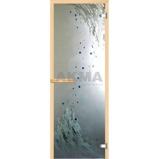 Дверь для бани АКМА АРТ с Фьюзингом 9й ВАЛ 7х19 (коробка осина или липа)