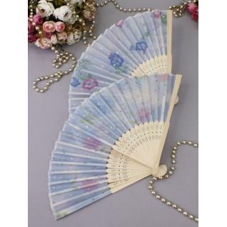 Веер №94 Лёгкость /бамбук, ткань/голубой