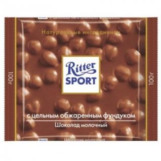 Шоколад Ritter Sport молочный сцельным лесным орехом 100 г