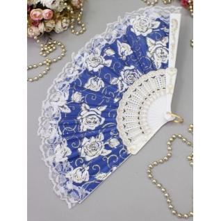 Веер №71 Розы, синий/пластик, ткань/