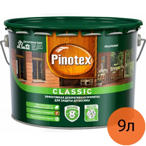 ПИНОТЕКС Классик антисептик для дерева тик (9л) / PINOTEX Classic декоративная пропитка по дереву тик (9л) Пинотекс 36984129