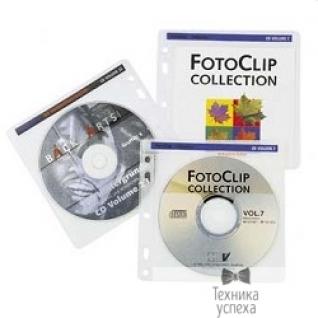 Hama HAMA Конверты для 2 CD/DVD, с перфорацией для портмоне с кольцами, 100шт (белый/прозрачный) H62611