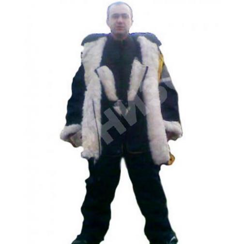 Костюм меховой из ветро влагозащитной ткани синего цвета (куртка+ полукомбинезон) 11098