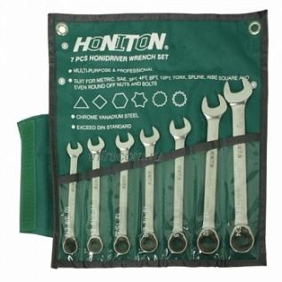 Honiton набор ключей комбинированных трещоточных карданных, 75°, CR-V, 10-19мм 7пр (1007FHGWP)