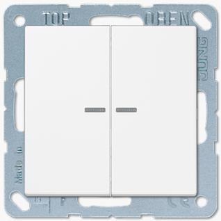 Выключатель Jung LS серия (505U5-LS995KO5WW) двухклавишный с подсветкой 10А белый пластик