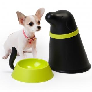 Контейнер+миска для собаки Qualy Pupp черная
