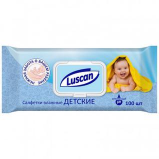 Салфетки влажные Luscan детские 100 шт с крышкой