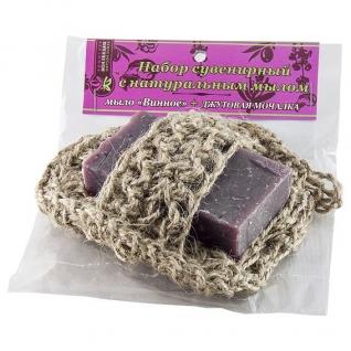 Мочалка с мылом Винное из джута
